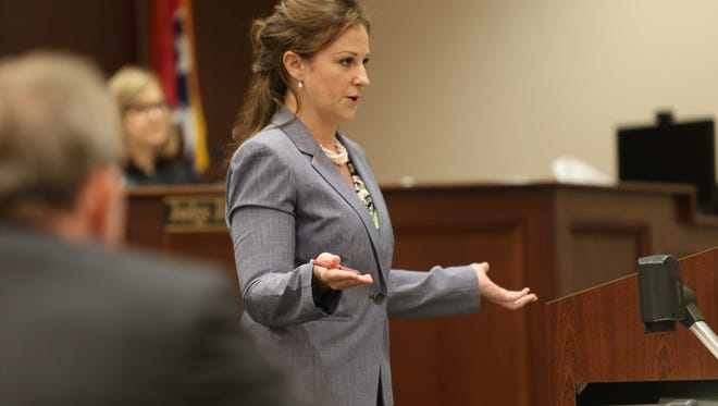 Defense attorney Adrienne Fry gives closing arguments in 2018 on behalf of Emmanuel Wallace, who was charged with killing soldier Liperial 'Savon' Easterling in 2015.