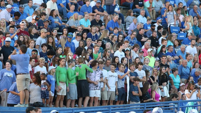 Chester County's student section cheers as the Eagles played South Side on Aug. 31, 2018.