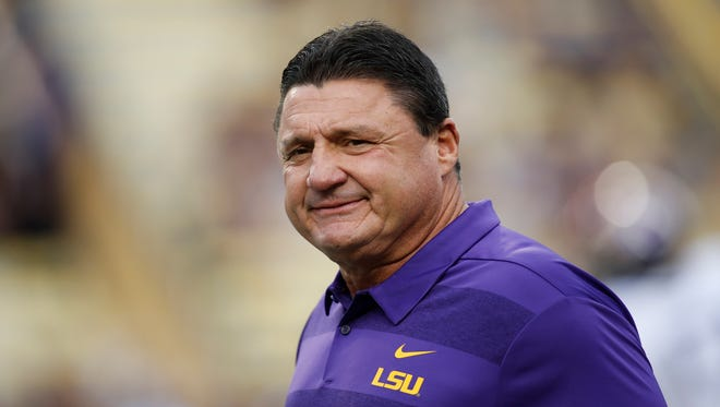 LSU head coach Ed Orgeron before an NCAA college football game in Baton Rouge, La., Saturday, Oct. 20, 2018. (AP Photo/Tyler Kaufman)
