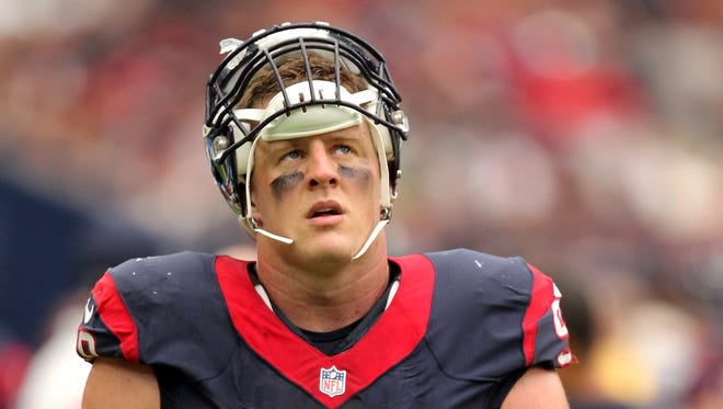 Houston Texans defensive end J.J. Watt (99) paces on the sideline during the fourth quarter against the Kansas City Chiefs at NRG Stadium. Mandatory Credit: Erik Williams-USA TODAY Sports ORG XMIT: USATSI-268264 ORIG FILE ID:  20160918_ggw_wb3_181.JPG