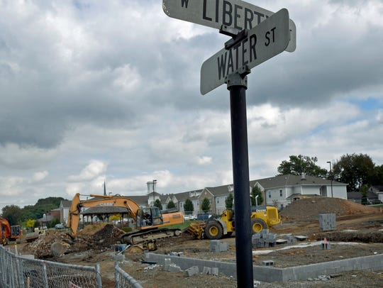 Construction work for new townhomes is underway following