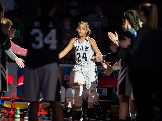 Lebanon Catholic's Jasmine Turner is introduced as Lebanon Catholic defeated Juniata Valley 55-43 in the PIAA Class 1A state championship on Friday, March 24, 2017 at the Giant Center. This is the third state championship for Lebanon Catholic in the school's history.