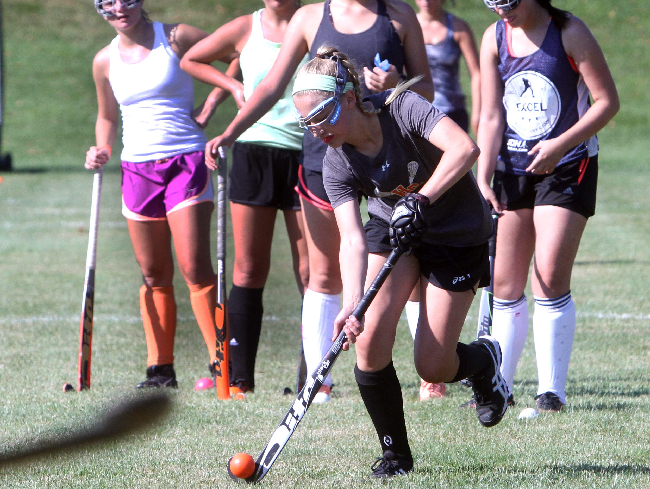Nikki Potter of Horace Greeley controls the ball during field hockey practice on Wednesday.