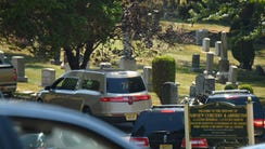 Hearse containing Bobbi Kristina Brown's casket arrives