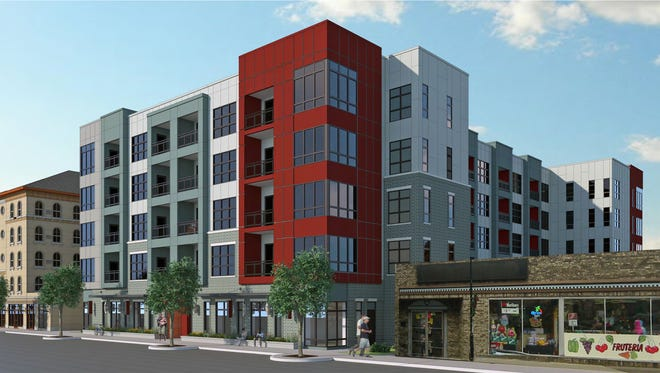 This is the latest rendering for a proposed downtown Waukesha apartment complex called Clearpoint. The city's plan commission approved final design plans for the project on Sept. 14.