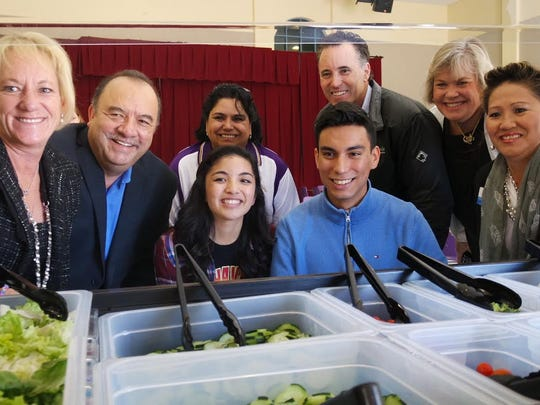 Soledad High School unveils its new salad bar in the cafeteria Thursday.