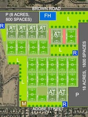 This map shows the proposed arrangement of fields and
