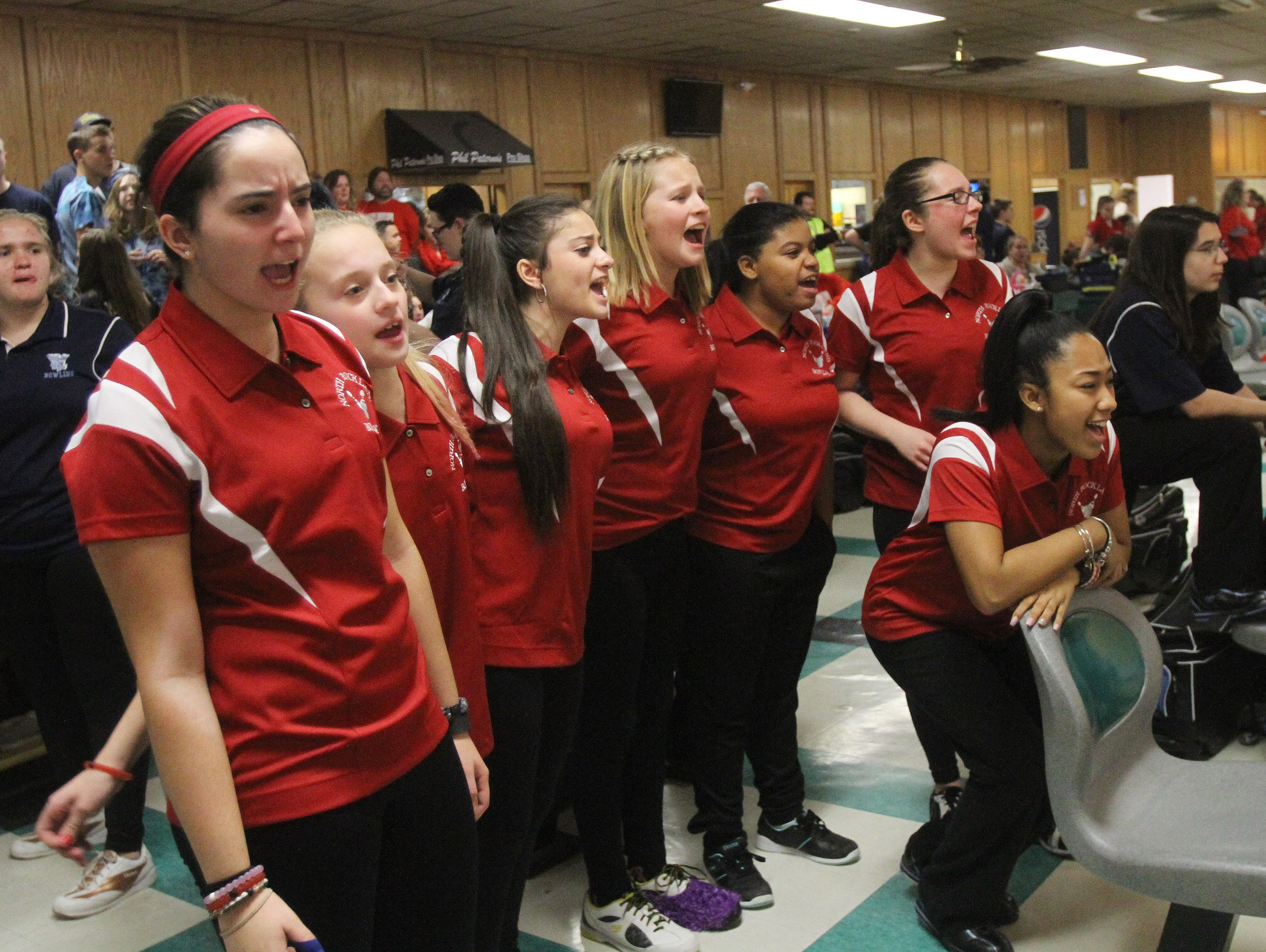 North Rockland girls bowling team cheer on a teammate during the Section 1 girls bowling tournament at Fishkill Bowl Feb. 10, 2016. North Rockland went on to win the tournament.