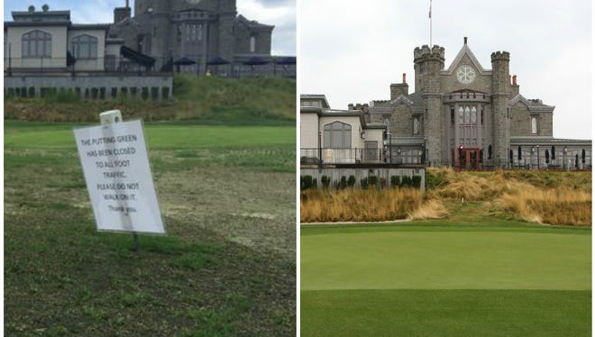 The 18th green at Rye Golf Club before and after damage was done to the green, possibly by pesticide application.