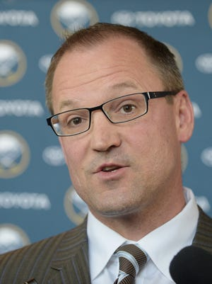 Buffalo Sabres Dan Bylsma talks with the media during a news conference after he was formally introduced as coach of the Buffalo Sabres Thursday, May 28, 2015, in Buffalo, N.Y. A week after losing out on Mike Babcock, the Buffalo Sabres went with another experienced Stanley Cup winner by hiring Dan Bylsma to become their next coach. (AP Photo/Gary Wiepert)
