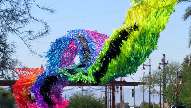 """Reflection Rising"" is a large-scale sculpture by artist Patrick Shearn in downtown Scottsdale."