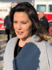 Gretchen Whitmer received the support of the  Michigan Professional Firefighters Union in Lansing on Feb. 14, 2018.