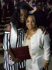 Mississippi State University track star Kaelin Kersh graduated on May 5, 2017, celebrating with her mother, Toni.