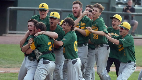 Lakeland celebrates after defeating Byram Hills 3-2 in the Section 1 Class A baseball championship game at Palisades Credit Union Park in Pomona May 26, 2018.