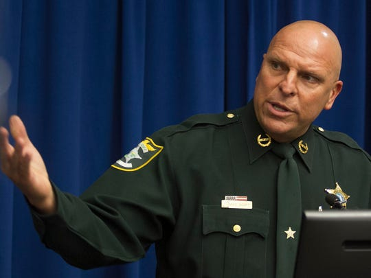 """Lee County Sheriff Mike Scott addresses media members during a press conference at the Cape Coral Police Department announcing the arrests made during """"Operation Cyber Guardian""""."""