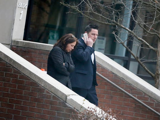 Thomas Clayton takes a phone call while leaving the Steuben County courthouse Feb. 22 after his trial went to the jury. He is charged with first- and second-degree murder in connection with the Sept. 29, 2015, bludgeoning death of his wife, Kelley, at their Town of Caton home.