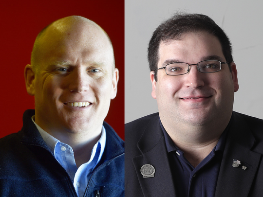 Democrat Caleb Frostman, left, and Republican Andre Jacque are running in the special June 12 election for Wisconsin's 1st Senate District.