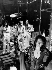 Alice Cooper with his bandmates in New York in 1973.