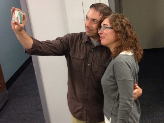 Former Courier-Post Chief Photographer Douglas Bovitt takes a selfie with Courier-Post Senior Content Editor Tammy Paolino on Bovitt's last day of work at the Courier-Post.    10.08.14