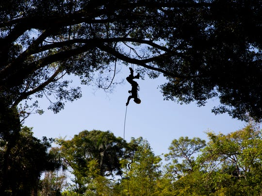 Zach Meier, an employee with Davey Tree Service, gives a demonstration at the Naples Zoo during the Party for the Planet celebration in honor of Earth Day on Saturday, April 1, 2017, in Naples. Davey Tree Service maintains the foliage in the zoo.