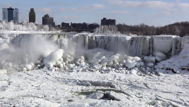 The Canadian and U.S. sides of Niagara Falls are covered in ice Thursday.
