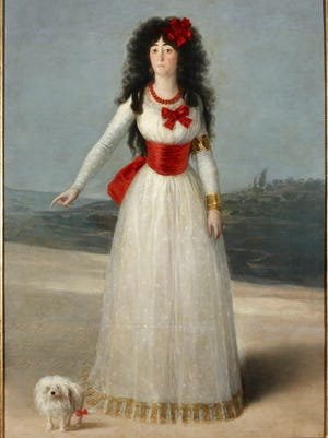 """Francisco de Goya y Lucientes (Spanish, 1746-1828). """"The Duchess of Alba in White,"""" 1795. Oil on canvas, 75 5/8 x 51 3/16 in."""