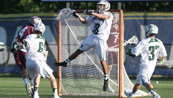 Yorktown defeated Garden City 5-4 in the state boys lacrosse semifinal at SUNY Albany June 7, 2017.