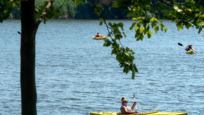 Overpeck County Park kayak center was a popular spot to get on the water as temperatures reached into the 90's on July 26, 2020.