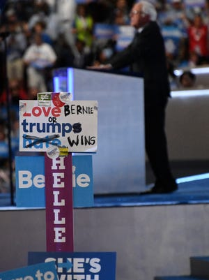 Sen. Bernie Sanders, D-Vermont, takes the stage during the 2016 Democratic National Convention at Wells Fargo Arena.