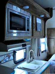 A microwave is among the modern amenities in the Gulf