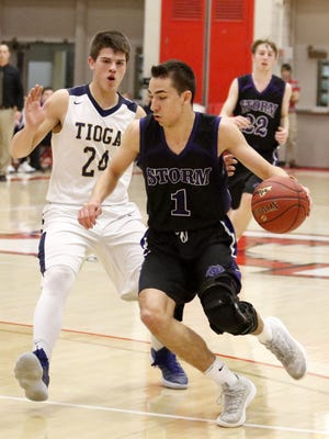 Andrew Jackson of Unadilla Valley dribbles as Scott Siberski defends for Tioga on Sunday during the Section 4 Class C championship game at SUNY Cortland.
