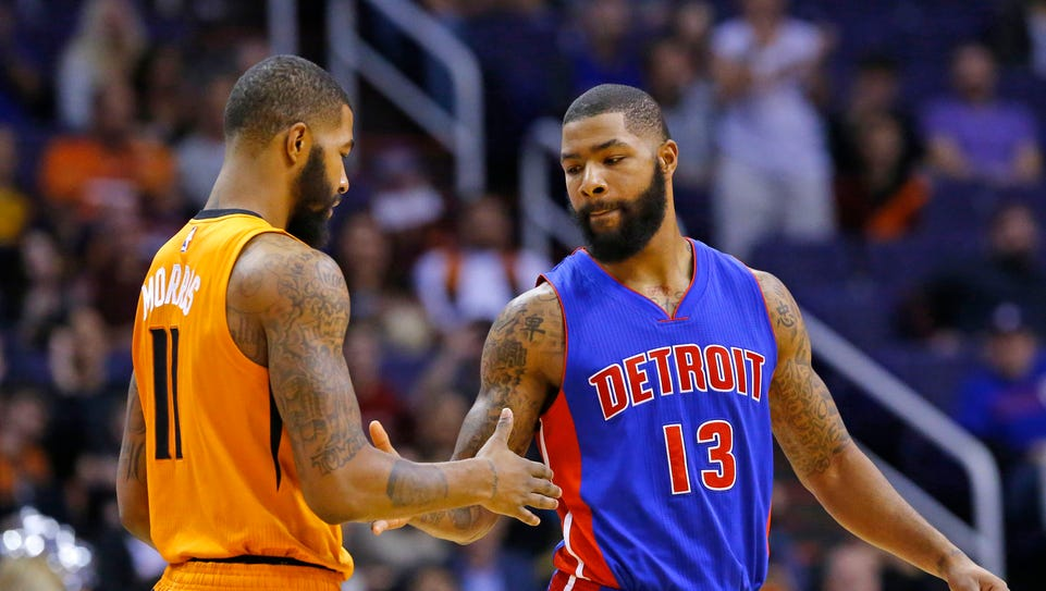 Suns forward Markieff Morris (11) and Detroit Pistons