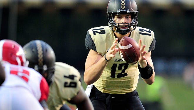 Vanderbilt quarterback Wade Freebeck (12) takes a snap against Austin Peay during the fourth quarter on Sept. 19, 2015.