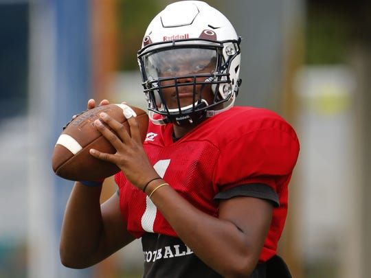 Mater Dei junior quarterback George Pearson, shown practicing on August 18, played for  Matawan the past two years.