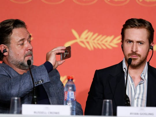 Seriously, Russ. Stop it. Russell Crowe and Ryan Gosling