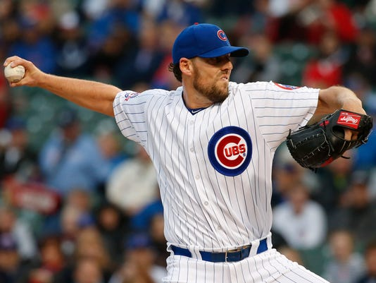 Chicago Cubs starter John Lackey throws against the San Diego Padres during the first inning of a baseball game Wednesday, May 11, 2016, in Chicago. (AP Photo/Nam Y. Huh)