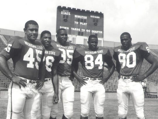 MSU's All-America lineup in 1965, from left: Bob Apisa (45), Clinton Jones (26), Bubba Smith (95), Gene Washington (84) and George Webster (90).