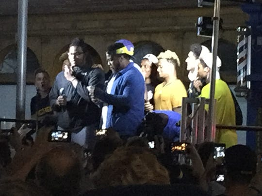 Michigan football players at the Nike event at the