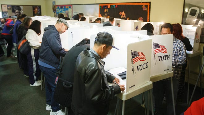 Early voters cast their ballots in North Hollywood, Calif., on Nov. 5, 2016.
