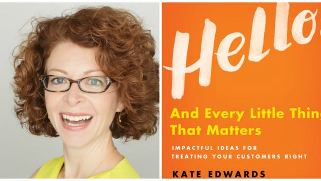 Kate Edwards, left, and her new book, right. provided photos