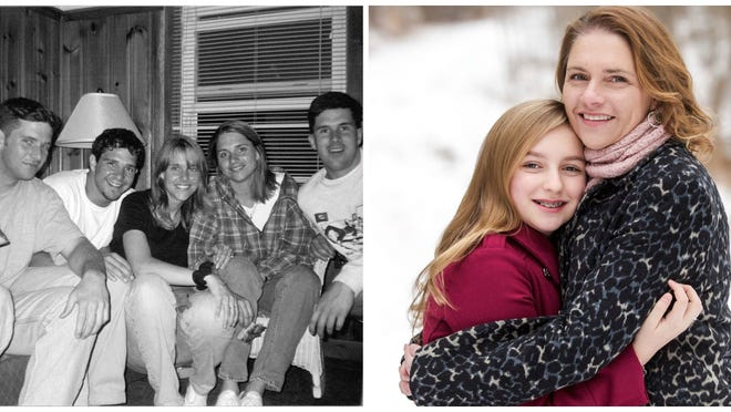 On left, an old photo of the five Corbin siblings. On right, Brockport native Theresa Corbin Gusek and daughter Kaeli. provided photos