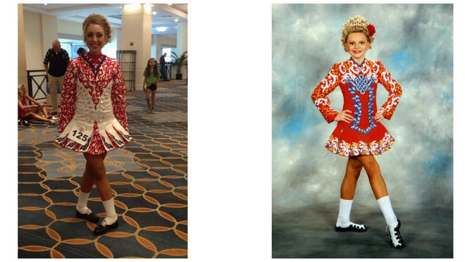 Brockport Central School District students Elle McGinnity, left, and Molly Kate-Brooks Smock, right, are competing in the 2016 World Championships of Irish Dancing in Scotland. provided photos