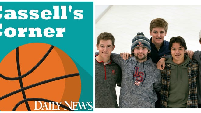 Lincoln-Sudbury golfers Weston Jones (left), Tim Duffy, Ryan Whitehead (back), Reed Bodley and Robbie Lifson (right) joined Cassell's Corner podcast.