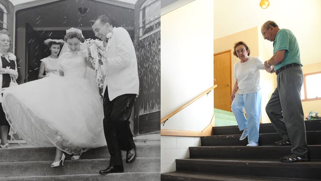 Jim and Grace Otto recreate their wedding day 57 years ago at St. Brendan Church in Brandon. The church will close on Aug. 6.