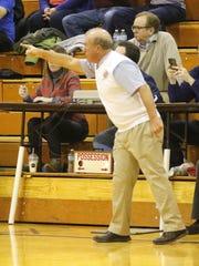 Bill Hopkins coaches Elmira Notre Dame during a 65-63