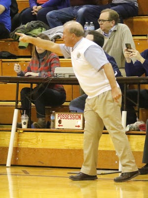 Bill Hopkins coaches Elmira Notre Dame during a 65-63 win over Watkins Glen on Jan. 19, 2018.