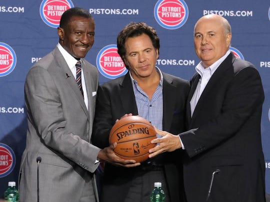 Pistons coach Dwane Casey, owner Tom Gores and senior advisor Ed Stefanski on June 20, 2018.