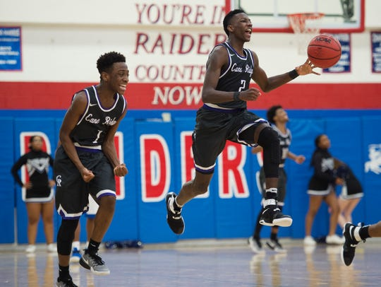 Team Thad guard Damion Baugh, right, shown here playing for Cane Ridge High School in February 2017, transferred to Tennessee Prep in Memphis in January.