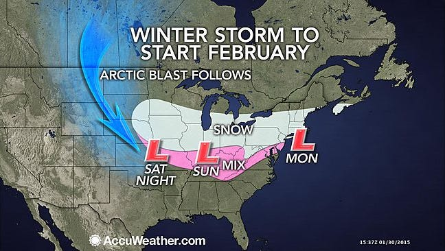 February will start out on the snowy side from the Midwest to the East.