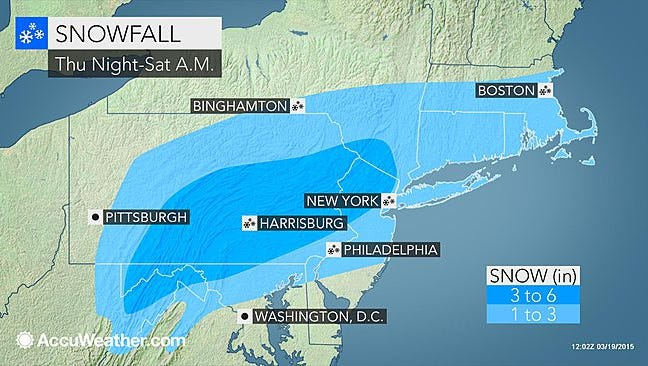 Snow is forecast from Thursday night into Saturday morning in the Northeast.